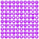 100 e-learning icons set purple. 100 e-learning icons set in purple circle isolated on white vector illustration Vector Illustration