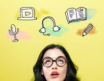 E-Learning illustration with young woman. Wearing eye glasses royalty free stock image