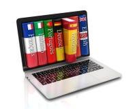 E-learning - imparando le lingue online illustrazione di stock
