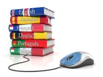 E-learning - imparando le lingue online illustrazione vettoriale