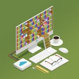 E-learning Isometric Composition. With electronic library on computer monitor textbook and glasses on green background 3d isometric vector illustration Royalty Free Stock Photography