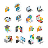 E-learning Isometric Icons Set Stock Photos
