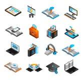 E-learning Isometric Icons Set Stock Photos