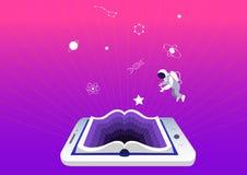 E-Learning-Konzept, Erziehung und Ausbildung Smartphone oder Tablette als Buch Symbole der Wissenschaft und des Wissens, Astronau stockfotografie
