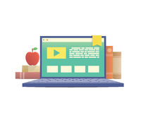 E-learning with laptop, learning through an online network. Stock Image