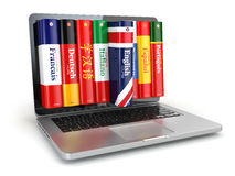 E-learning. Learning languages online. Dictionaries and laptop. Stock Photography
