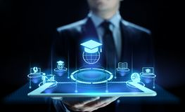 E-Learning-on-line-Ausbildungs-Gesch?fts-Internet-Konzept auf Schirm lizenzfreies stockbild