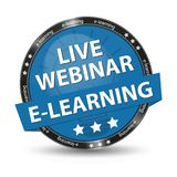 E-Learning Live Webinar Blue Glossy Button - Vector Illustration. Isolated On White Background Royalty Free Stock Images