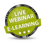 E-Learning Live Webinar Green Glossy Button - Vector Illustration - Isolated On Transparent Background. E-Learning Live Webinar Green Glossy Button - Vector Stock Images