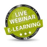 E-Learning Live Webinar Green Glossy Button - Vektor-Illustration - lokalisiert auf transparentem Hintergrund Stockbilder