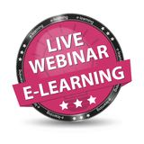 E-Learning Live Webinar Pink Glossy Button - Vector Illustration. Isolated On White Background Stock Photography