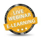 E-Learning Live Webinar Yellow Glossy Button - Vector Illustration - Isolated On White Background Royalty Free Stock Photo