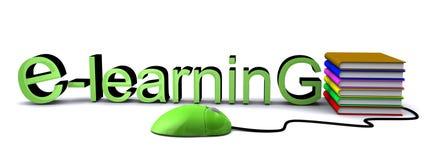 E-Learning mit Computermaus und -büchern Stockbild
