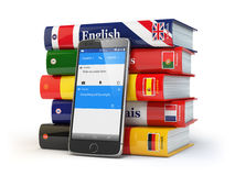 E-learning. Mobile dictionary. Learning languages online.  Royalty Free Stock Photos