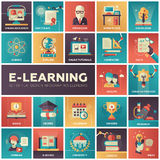 E-learning - modern flat design isquare icons Stock Photography