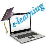 E-Learning Notebook Graduation Cap Stock Images