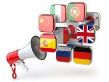 E-learning o concetto online del traduttore Apprendimento del onli di lingue Immagine Stock