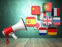 E-learning o concetto online del traduttore Apprendimento del onli di lingue Fotografie Stock Libere da Diritti