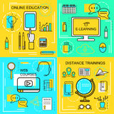 E-learning, Online Ecucation, Web Courses and Distance trainings concept. Thin Line icons. Vector Illustration. Banners for web , vector illustration
