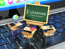 E-learning, online education concept. Blackboard and school desk. S on laptop keyboard. 3d Stock Images