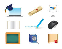 E learning. online education concept icon set Stock Photography