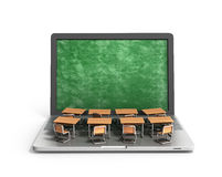 E-learning online education concept school desks  Royalty Free Stock Images