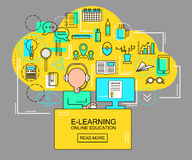 E-learning and online education concept with student with computer and study icons. Thin Line vector Illustration Royalty Free Stock Photos