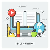 E-learning, online education. Flat line art style concept. Vector illustration Royalty Free Stock Images