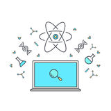 E-learning and online education. Internet as knowledge base. Chemical and physical elements of energy, dna, microscope Royalty Free Stock Photos