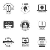 E-learning and online education logo set. vector badges for logo design of online lessons and video tutorials. Set of 9 logo design badges for online education Royalty Free Stock Photos