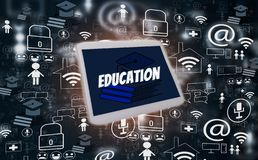 E-learning and online education, with tablet and icons social media on black background, illustration creative design, concept. Learn and knowledge of future stock photo