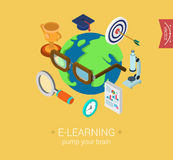 E-learning online global education flat 3d isometric concept. E-learning online global education flat 3d isometric modern design concept  icon collage. Globe Royalty Free Stock Photography