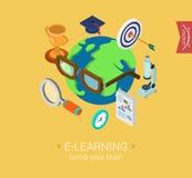 E-learning online global education flat 3d isometric concept. E-learning online global education flat 3d isometric modern design concept icon collage. Globe Stock Illustration