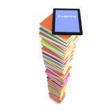 E-learning pile of books vector illustration