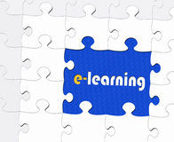 E - learning puzzle piece. A blue puzzle piece with e-learning royalty free illustration