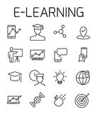 E-learning related vector icon set. Well-crafted sign in thin line style with editable stroke. Vector symbols isolated on a white background. Simple pictograms Royalty Free Stock Photography