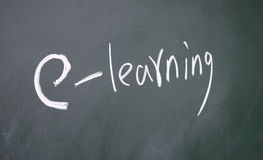 E-learning symbol. Drawn with chalk on blackboard stock image