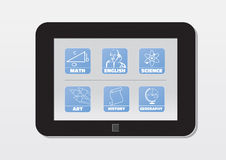 E-Learning, Tablette mit Schulfächern; Ikonen Stockfotografie