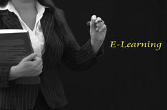E-Learning Teacher. Teacher holding book with E-learning background in yellow Royalty Free Stock Photography