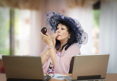 E-learning teacher preening Royalty Free Stock Photo
