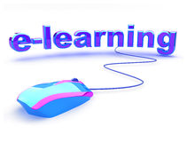 E learning text with mouse Royalty Free Stock Image