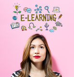 E-Learning text with young woman. On a pink background Royalty Free Stock Photography