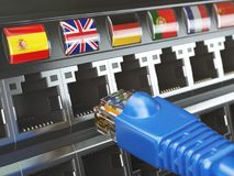E-learning, translate foreign languages, online vocabilary, mult. Ilingual support or change of ip location concept. Flags of countries and ethernet plug and Stock Photo