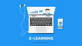 E-learning Vector Illustration With Smartphone, Notebook, And Teacher On The Screen. Conceptual Multiplatform stock illustration