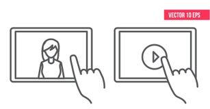 E-learning, video esercitazione, linea icona, il desktop di istruzione dello studente con il computer portatile, icona online di  illustrazione vettoriale