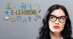 E-Learning with young businesswoman. E-Leraning with young businesswoman in a thoughtful face Royalty Free Stock Photo