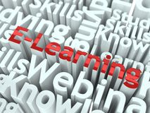 E-Learningslogan. Begriffsauslegung. Stockfoto