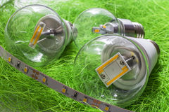 E27 led bulb and strip with very various large chips Royalty Free Stock Photography