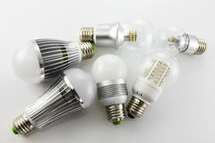 E27 LED lamps with a different chips technology Stock Photos