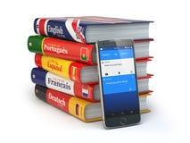 E-leert Mobiel woordenboek Het leren online talen Smartp stock illustratie